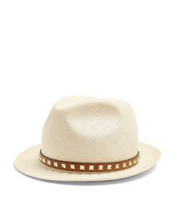 Valentino   Rockstud Fedora Straw Hat
