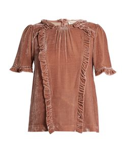 Masscob | Ruffle-Trimmed Short-Sleeved Velvet Top