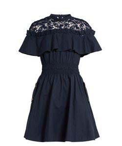 SELF-PORTRAIT | Hudson Ruffled-Yoke Lace And Cotton Dress