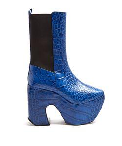 Marques Almeida | Crocodile-Effect Leather Platform Boots