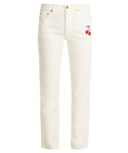 BLISS AND MISCHIEF | Cherry-Embroidered High-Rise Straight-Leg Jeans