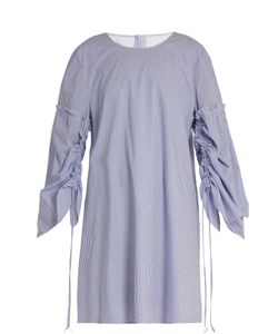 Tibi | Elliot Round-Neck Striped Cotton Dress
