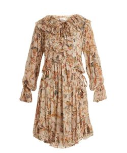 Zimmermann | Painted Heart Print Ruffled Silk Dress