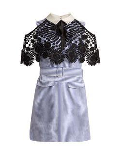 SELF-PORTRAIT | Lace-Cape Striped Cotton Mini Dress