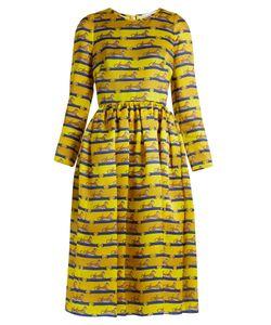Mary Katrantzou   Wilson Striped Cheetah-Print Satin Dress