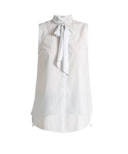Brunello Cucinelli | Fine-Striped Tie-Neck Sleeveless Top