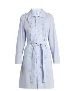 Maison Margiela | Asymmetric-Ruffle Striped Cotton-Poplin Dress