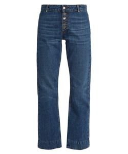 ALEXACHUNG | Exposed-Button Kick-Flare Cropped Jeans