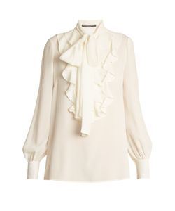 Alexander McQueen | Ruffled-Panel Silk Blouse