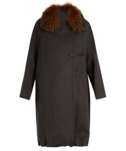 Brunello Cucinelli | Double-Breasted Fur-Trimmed Wool-Blend Coat