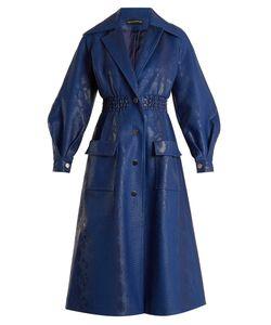 Vika Gazinskaya   Crocodile-Effect Faux-Leather Coat