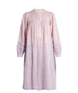 Raquel Allegra | Frayed-Seam Long-Sleeved Cotton-Gauze Dress