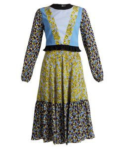 MSGM | -Print Contrast-Panel Long Silk Dress