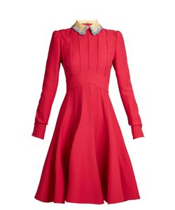 Valentino | Embellished-Collar Wool And Silk-Blend Dress
