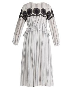 Muveil | -Embroidered Striped-Cotton Dress