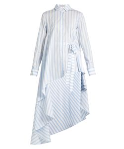 PALMER/HARDING | Asymmetric-Hem Striped Cotton Shirt