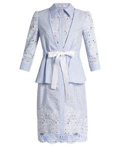 Erdem   Zuni Striped Broderie-Anglaise Dress