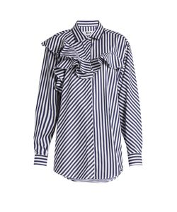 MSGM | Ruffle-Trimmed Striped Cotton Shirt