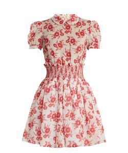 Miu Miu   -Print Smocked-Waist Mini Dress