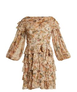 Zimmermann | Painted Heart Print Ruffle-Trim Silk Dress