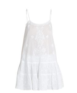 Juliet Dunn | Embroidered Ruffled-Hem Cotton-Voile Kaftan