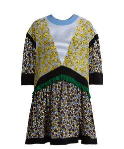 MSGM | -Print Contrast-Panel Silk Dress