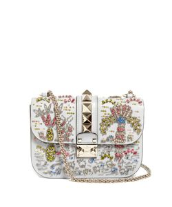 Valentino | Lock Medium Embellished Leather Shoulder Bag