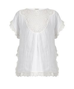 Masscob | Lace-Bib Crinkled Linen-Blend Top