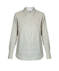 Luisa Beccaria | Point-Collar Striped Linen-Blend Shirt