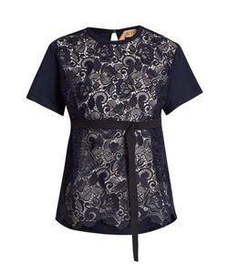 No. 21 | Lace-Panelled Cotton T-Shirt