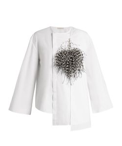 Christopher Kane | Feather-Brooch Cotton-Poplin Blouse