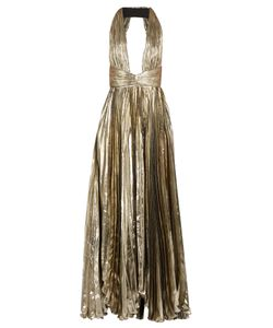 Maria Lucia Hohan | Adina Deep V-Neck Pleated Lamé Gown