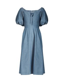 Sea | Puff-Sleeved Lace-Up Cotton-Chambray Dress