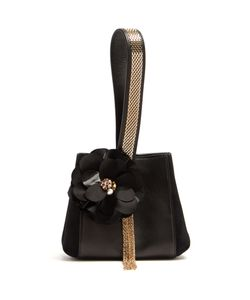 Lanvin   Flower-Appliqué Leather And Suede Clutch