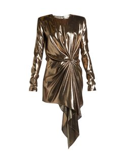 Saint Laurent | Gathe Draped-Front Lamé Mini Dress
