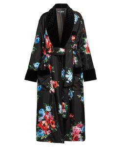 Dolce & Gabbana | Rose-Print Velvet-Trimmed Coat