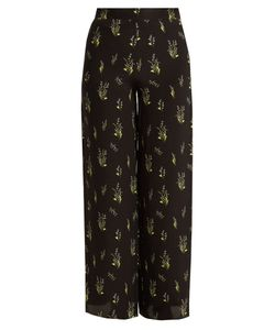 ROCKINS | Skully Of The Valley-Print Wide-Leg Silk Trousers