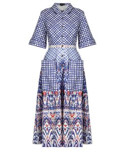 Saloni | Natalie Contrast-Print Stretch-Cotton Shirtdress