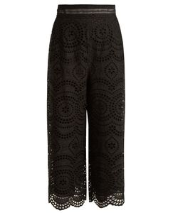 Zimmermann | Meridian Cropped Broderie-Anglaise Cotton Trousers