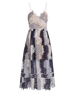 SELF-PORTRAIT | Camellias Patchwork-Lace Midi Dress