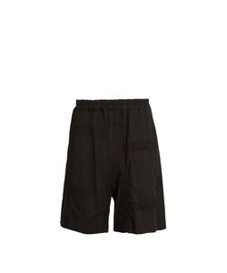 BY WALID | Padre Embroide-Panel Antique-Cotton Shorts