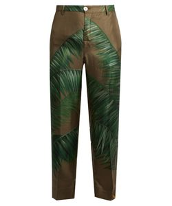 F.R.S For Restless Sleepers | Tartaro Palm-Print Cropped Silk-Twill Trousers