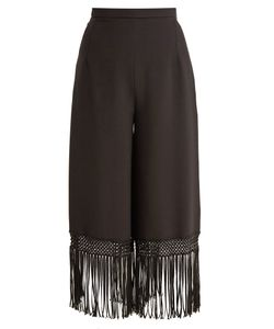 Andrew Gn | Fringed-Hem Wide-Leg Crepe Trousers