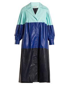 Vika Gazinskaya   Pleated Colour-Block Faux-Leather Coat