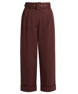 Isa Arfen | Safari Cotton-Blend Cropped Tapered-Leg Trousers