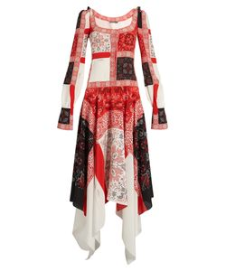 Alexander McQueen | Scoop-Neck Cross Stitch-Print Crepe De Chine Dress