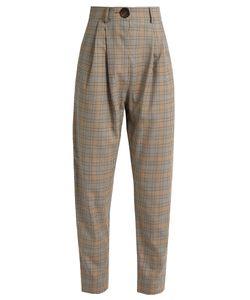 A.W.A.K.E. | High-Waist Checked Wool Trousers