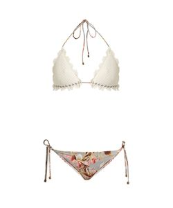 Zimmermann | Mercer Crochet And Print Bikini