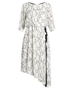 OSMAN | Gigi Face-Print Asymmetric Crepe Dress