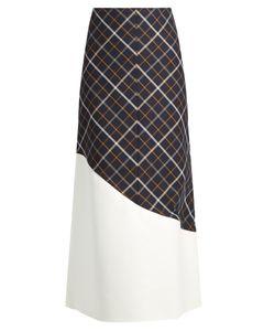 A.W.A.K.E. | A-Line Wave-Panel Cotton-Blend Plaid Skirt